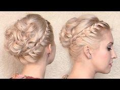 Romantic Greek goddess hair tutorial Braided curly updo hairstyle for medium long hair