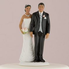 """The Love Pinch"" Ethnic Couple Cake Topper ( Select From 7 Hair Colors )"