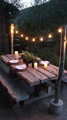 Rustic Outdoor Decor, Outdoor Food, Outdoor Dining, Dining Table, Outdoor Decorations, Dining Area, Picnic Table Decorations, Outdoor Lantern, Picnic Tables