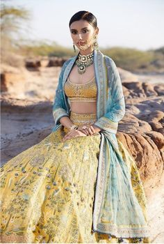 10 Bridal Lehenga Designs for Every Style of Indian Wedding_Anita Dongre bridal Maharanis, we have come to the rescue today with the ultimate guide to finding bridal lehenga designs for any style of Indian wedding. Anita Dongre, Lehenga Designs, Indian Attire, Indian Ethnic Wear, Indian India, Karen Elson, Indian Wedding Outfits, Indian Outfits, Moda Indiana