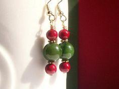 Green and Red Gemstone Jewelry Dangle Earrings by BobblesByCarol, $16.00 USD