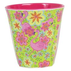 Rice Medium Flamingo Print Melamine Cup: This Medium Flamingo Print Melamine Cup can be used for hot and cold drinks, random accessories, or even as a small vase for small flowers. Perfect for a party, spontaneous picnic or for long days in the office. Flamingo Print, Pink Flamingos, Flamingo Party, Tupperware, Melamine Dinner Set, Danish Interior Design, Small Flower Pots, Happy Colors, Childrens Party