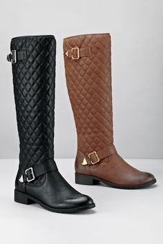 Vegan Faux Leather Quilted Buckle Boot