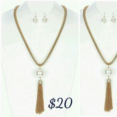 Big Pearl Long Tassel Necklace  set. Great for Casual wear. ORDER NOW!! CLICK IMAGE!!  Visit us at www.chiclyfabulous.com
