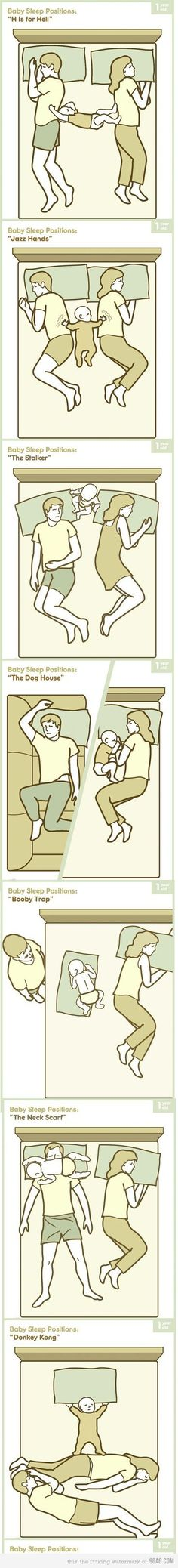 Baby sleep positions....when they are in Mommy and Daddy's bed!