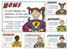 GRATUIT//Affiches de grammaire Superhéros Via Valérie Cadieux :)