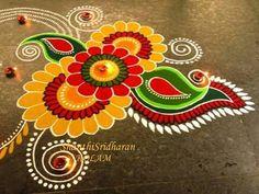 Simple and Unique Multicolor Rangoli Designs - ArtsyCraftsyDad Rangoli Designs Latest, Simple Rangoli Designs Images, Rangoli Designs Flower, Small Rangoli Design, Rangoli Border Designs, Rangoli Designs Diwali, Diwali Rangoli, Rangoli Designs With Dots, Flower Rangoli