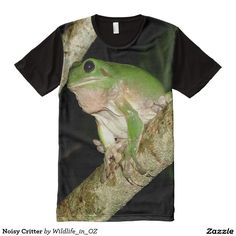 Noisy Critter All-Over Print T-shirt - Click on photo to view item then click on item to see how to purchase that item. #tshirt #frog #greenfrog #reptile #heartattackrecovery #tshirts #therapy #zazzle
