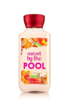 LOVE!!!!!!!!  Sunset By The Pool Body Lotion - Signature Collection - Bath & Body Works      Top Notes: Fuzzy Apricot, Sparkling Bergamot, Juicy Grapefruit       Mid Notes: Lily Of The Valley, Mirabel Plum, Blood Orange, Apple Blossom       Dry Notes: Sun Warmed Woods, Madagascar Vanilla      Key Fragrance Notes:     Lounge poolside with a sun-ripe blend of white peach, exotic passionfruit & sun-warmed woods