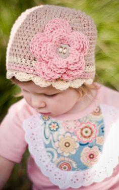 Girls Hat, Cameo Flower Beanie, toddler, baby, girl. knit.