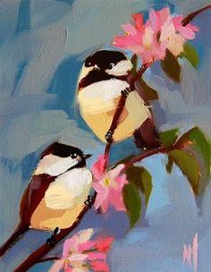 "Daily Paintworks - ""Two Chickadees no. 80 Painting"" - Original Fine Art for Sale - © Angela Moulton"