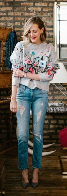 OUTFIT LOOKOUT ❤️ A Floral Embroidery Sweater in Gray now available at $68 as featured on Pasaboho. ❤️ This Sweater exhibit brilliant colours with unique embroidered floral patterns. ❤️ We Love boho style and Free Spirit Fashion Trend hippie girls sharing woman outfit ideas. *Available for wholesale :: bohemian clothes, cute dresses and skirts. Fashion trend and styles from hippie chic, modern vintage, gypsy style, boho chic, hmong ethnic, street style, geometric and floral outfit