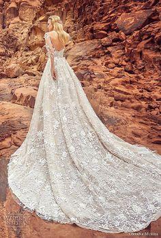 Oksana mukha 2018 bridal mangas de três quartos sweetheart decote emfeite completo princesa uma linha vestido de noiva com bolsos abertos de volta trem real (lilana) bv