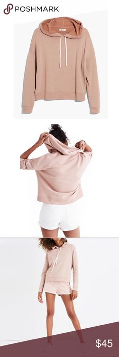 """Madewell Warmup Hoodie PRODUCT DETAILS Inspired by the Japanese concept of """"one-mile wear,"""" Mile(s) by Madewell is a collection for all the stuff you do close to home—the post-workout hangs, the neighborhood coffee strolls, the couch marathons. Made of soft fabrics in sleek shapes, it's your new weekend-starts-now uniform. Take this lightweight hoodie—it's just a touch cropped for an easy fit with an athletic vibe.    True to size. Cotton/poly. Machine wash.  Brand NWT! Madewell Tops…"""