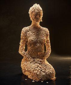 jean-michel bihorel forms flower figures from dried hydrangea blooms