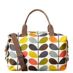 Orla Kiely: Matt laminate weekend bag with gray large linear stem cotton twill lining.
