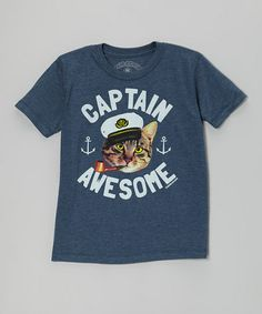 Love this silliness. :: Blue 'Captain Awesome' Cat Boys Tee