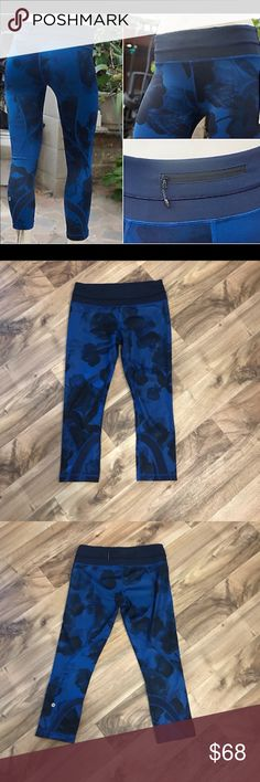✨Like new!✨ Lululemon run inspire crop pants Like new! Lululemon run inspire crop pants. Pattern is jumbo inky floral. Colors are dark navy blue and blue. Size 6. These were worn maybe once. So, they look brand new. No flaws. Inside tag was cut out, but it has its size dot (see last pic). lululemon athletica Pants Ankle & Cropped