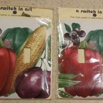DOUBLE LIGHT SWITCH COVER  VEGETABLE PRINT LOT OF 2 STANDARD SIZE