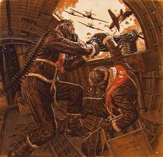 """WWII machine gunners in air combat. """"Sub-zero air rushed through the broken plexiglas."""" Story illustration: """"The Wild Waist Gunner Who Shot Down a Nazi Air Wing"""", author: Jack Pearl, Male, December Military Art, Military History, Military Drawings, Airplane Art, Nose Art, Aviation Art, Vintage Design, Panzer, Military Aircraft"""