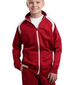 Sport-Tek YST90 Youth Tricot Track Jacket True Red #youthclothing #outerwear