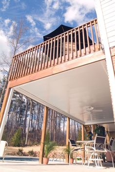 There is often a great difficulty in trying to find creative inspiration to transform your outdoor deck into the perfect combination of design options t. Under Deck Roofing, Patio Under Decks, Decks And Porches, Back Patio, Outdoor Rooms, Outdoor Living, Outdoor Decor, Under Deck Ceiling, Deck Lighting
