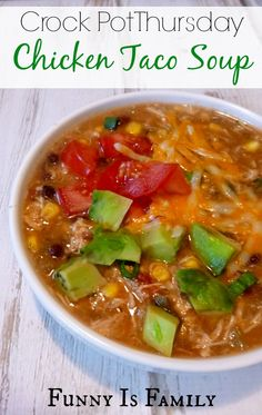 This Crockpot Chicken Taco Soup is easy, delicious, and a family favorite! We topped ours with green onions, avocado, cheese, sour cream, tomato and tortilla chips. Yum!