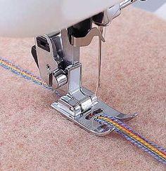 Husqvarna Viking Cording Foot. Couching multiple threads tutorial.