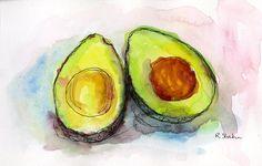 avacado art | Avocado Pair Painting by Rebecca Stahr - Avocado Pair Fine Art Prints ...