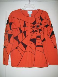 "Quacker Factory  S  ""SPIDER""  Orange Halloween Sweater #QuackerFactory #Cardigan"