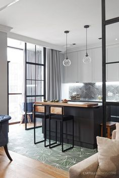 """5 Ways to Create a """"Warm Modern"""" Kitchen Without a Full Remodel - Postbox Designs - Postbox Designs, Interior E-Design: How to Create a Warm Modern Kitchen Design, Modern Kitchen Make - Modern Kitchen Lighting, Modern Kitchen Island, Black Kitchen Cabinets, Black Kitchens, Kitchen Black, Small Kitchens, Kitchen Islands, Kitchen Bar Design, Interior Design Kitchen"""