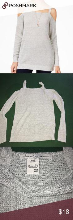 American rag cold shoulder sweater Only used twice, off shoulder grey sweater American Rag Sweaters Crew & Scoop Necks
