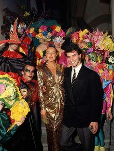 1986 Coveri Venetian Carnival Ball with the beautiful Eleonora Giorgi and Andrea Occhipinti Photo By Brel - Genovese