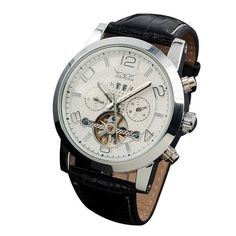 Gute Elegant White Men's Automatic Mechanical Wristwatch Silver Case Day Date Month Functions - Jewelry For Her