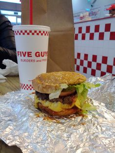Five Guys burger.  Mouthwatering!