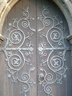 door of St. Margaret's Church, Roath, Wales, would make a pritty quilting design Entrance Doors, Doorway, Door Knockers, Door Knobs, Unique Doors, Closed Doors, Architectural Elements, Windows And Doors, Gate
