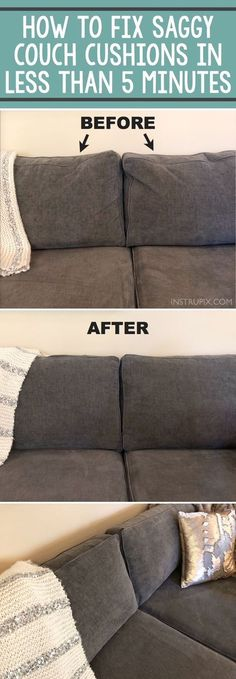 TIP: How To Fix Saggy Couch Cushions (a life hack everyone should know) Home Tip -- How to easily fix sagging couch cushions in less than 5 minutes! This DIY trick will make your couch pillows look brand new! A life hack every girl should know. House Cleaning Tips, Diy Cleaning Products, Spring Cleaning, Cleaning Hacks, Cleaning Pillows, Fix Sagging Couch, Casa Disney, Life Hacks Every Girl Should Know, Simple Life Hacks