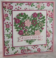 Love Blossoms With The Bloomin' Heart Thinlit Die. What a stunnung card! Card Making Inspiration, Making Ideas, Bloomin Love Stampin Up, Stampin Up Karten, Happy Hearts Day, Wedding Anniversary Cards, Happy Anniversary, Scrapbooking, Love Stamps