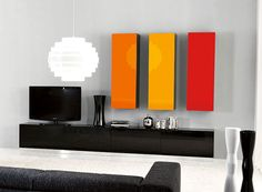 Unico Colour Pop Wall Storage System in Red, Yellow, Orange and Black Tv Stand Furniture, Bedroom Furniture Sets, Tv Feature Wall, Wall Storage Systems, Modern Home Bar, Tv Wall Design, Wall Colors, New Homes, Living Room