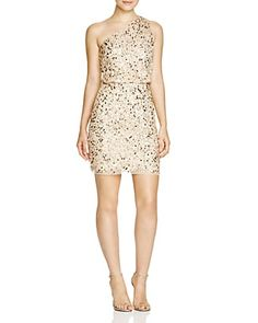 Aidan Mattox Bridal One Shoulder Embellished Blouson Dress | Bloomingdale's