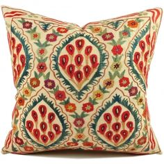 $50 MODERN Bohemian Home Decor Beige 20x20 Ivory Colored Uzbek suzani Pillow Cover, suzani Cushions