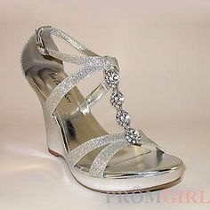 9275499477c Zoey Silver Wedge Heel at PromGirl.com  Promheels Silver Wedge Heels
