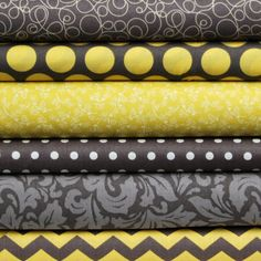 Yellow & Gray Fat Quarter Bundle by CreativeFabricGirls on Etsy, $18.00