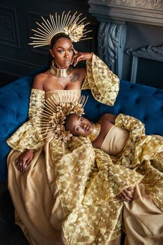 Family Values. Creative Muse: Shot by: Makeup: Hair: Dress: Crowns Chokers: Styled by: Black Girl Magic, Black Girls, African Crown, African Girl, Black King And Queen, Black Girl Aesthetic, Crown Aesthetic, Black Royalty, African Royalty