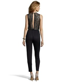 Love this back!! Wyatt - black stretch jersey lace back sleeveless jumpsuit