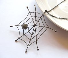 Copper wire pendant one of a kind dark brown beaded jewelry statement funky Spieder web