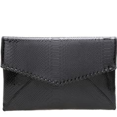 SheIn(sheinside) Black Magnetic Serpentine PU Clutches (€14) ❤ liked on Polyvore featuring bags, handbags, clutches, shein, purses, black, messenger handbag, messenger bag, magnetic purse and pu handbag