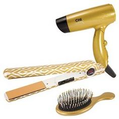 "CHI Air Classic Tourmaline Ceramic Hairstyling Iron - 1"" Gold Holiday Gift Set"
