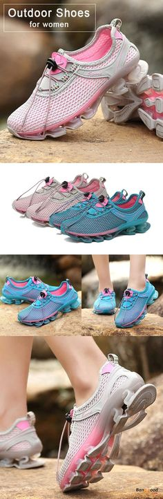 Outdoor Running Lace Up Shock Absorption Sneakers For Women
