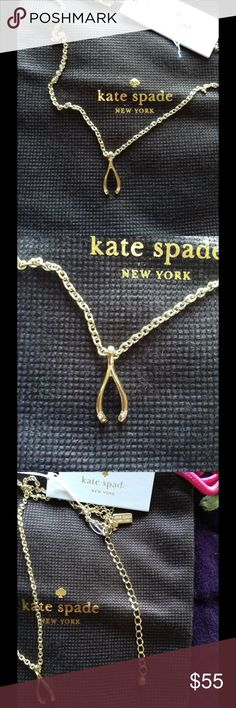Dainty Sparklers Wishbone Pendant NWT Dainty Sparklers Wishbone Pendant  NWT 12 karat gold plated and cubic zirconia. 17 inch chain with 3 inch extender. Hand crafted. Lobster claw clasp. Two cubic zirconia stones on the tip of the wishbone. Kate Spade pouch included. kate spade Jewelry Necklaces